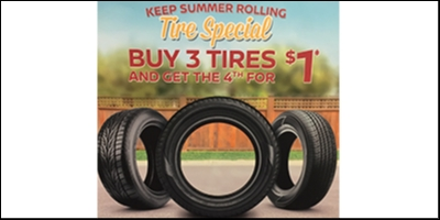 Coupon for Keep Summer Rolling Tire Special Buy 3 Tires, Get the 4th for $1!
