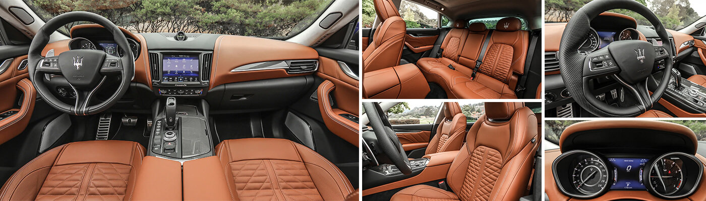 various interior views of the 2019 maserati levante trofeo