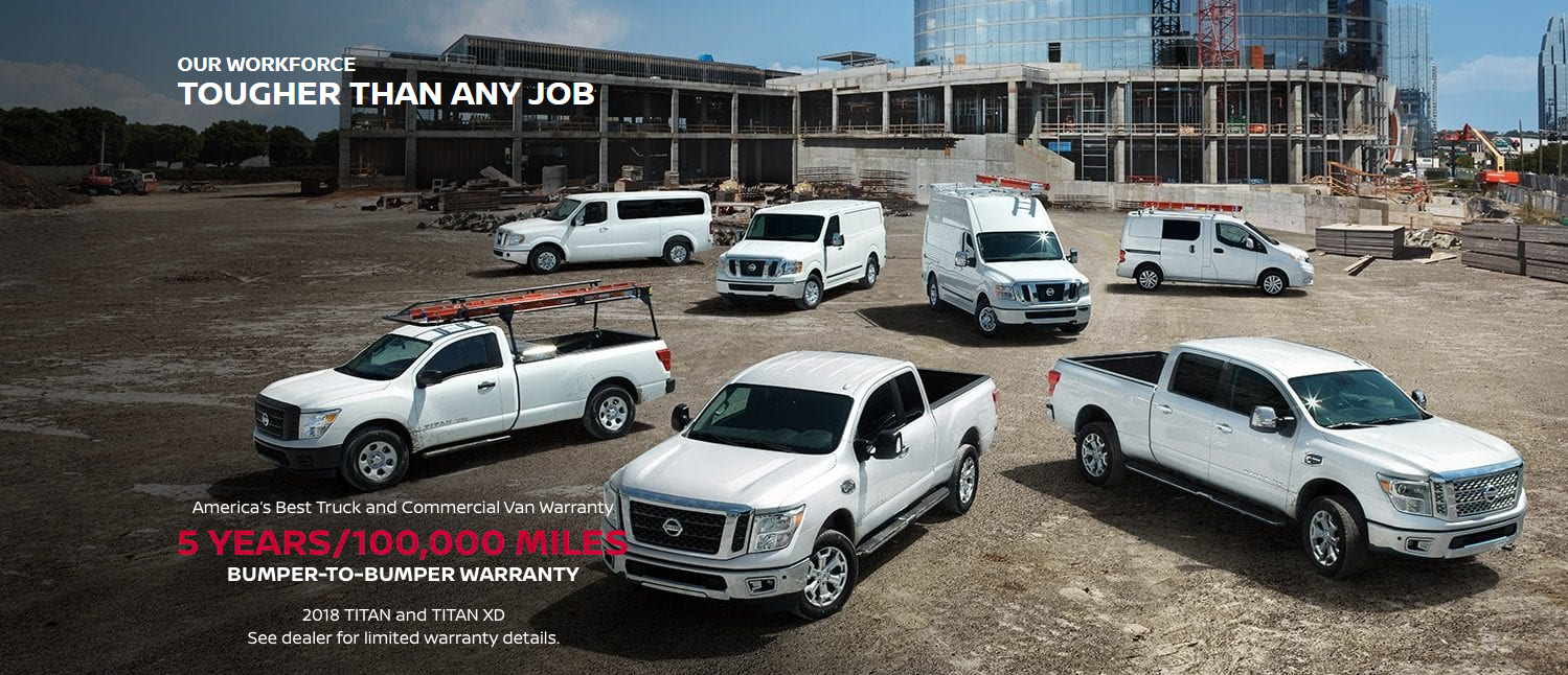 nissan commercial vehicle lineup on construction site