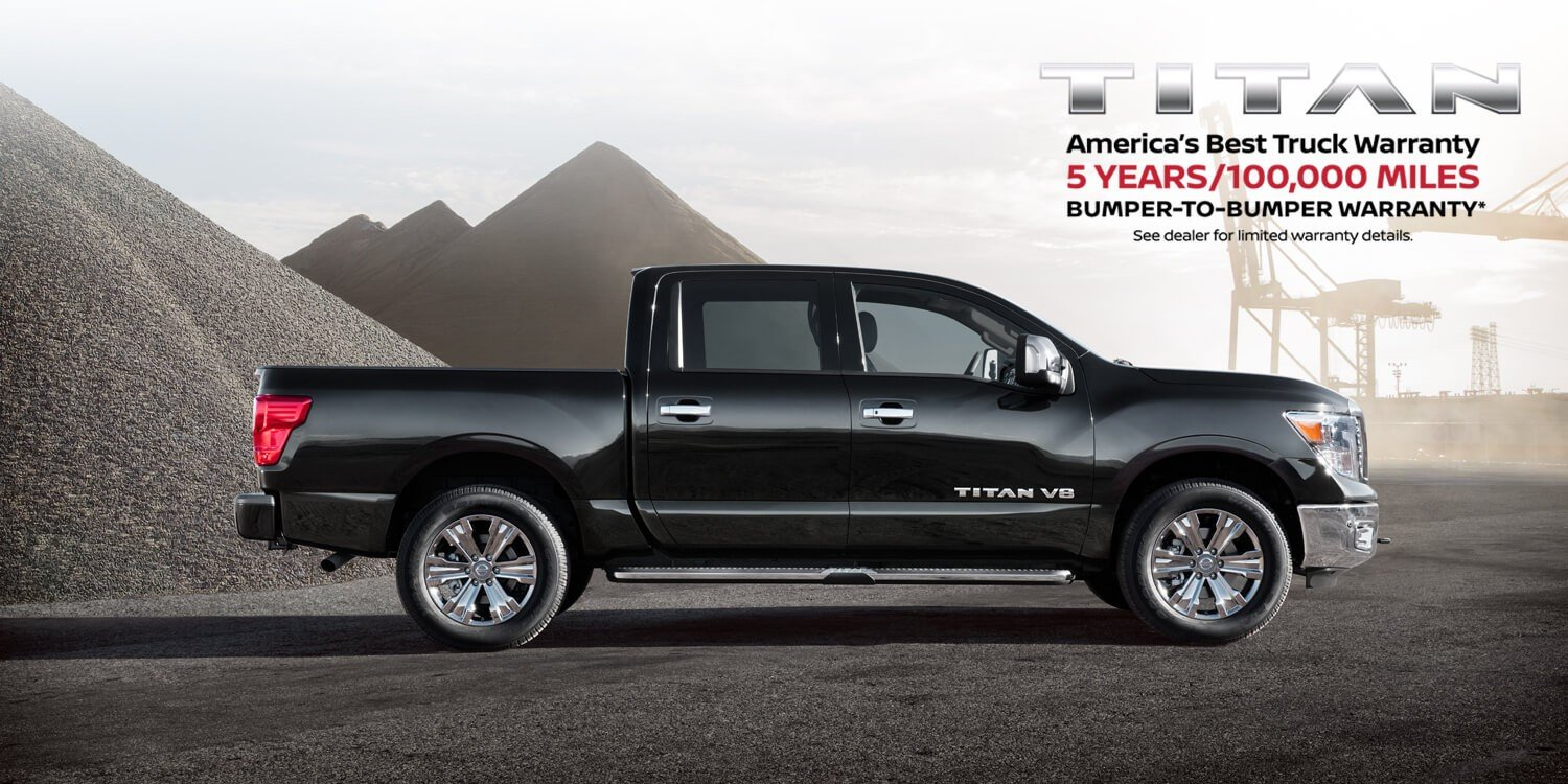 Silver Nissan Titan with America's Best Truck Warranty