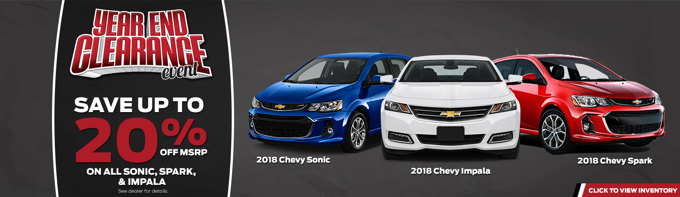 year end sales event on chevrolet sonic, impala, spark