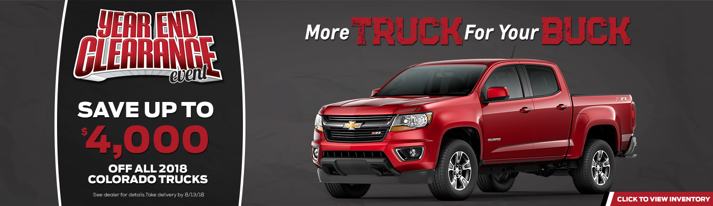 year end sales event on red chevy colorado