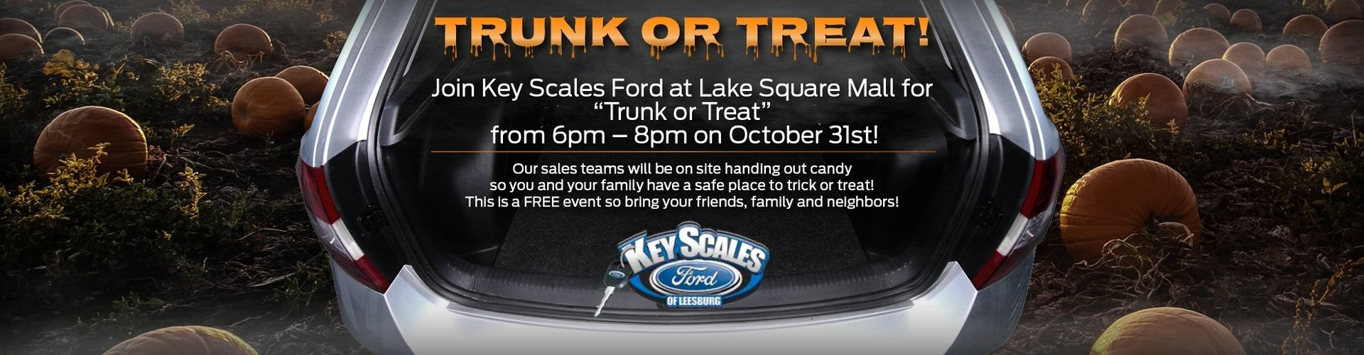 Trunk or Treat banner with Key Scales Ford
