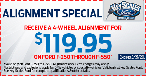 Coupon for Alignment Special Receive a 4-Wheel Alignment for $119.95 on Ford F-250 through F-550