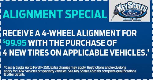 Coupon for Alignment Special Receive a 4-Wheel Alignment for $99.95 with the purchase of 4 new tires on applicable vehicles.