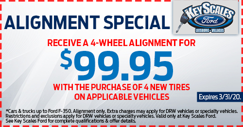 Coupon for Alignment Special Receive a 4-Wheel Alignment for $99.95 with the purchase of 4 new tires on applicable vehicles