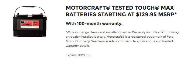 Motorcraft Tough Batteries $129.95