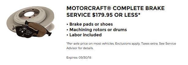 Motorcraft Brake Service 179.95