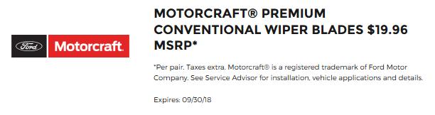 Motorcraft Wiper Blades $19.96