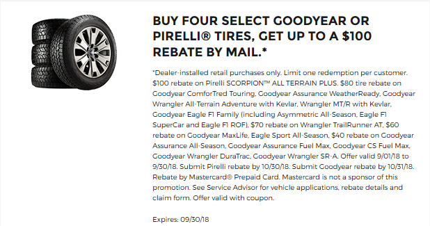 Goodyear or Pirelli up to $100 off