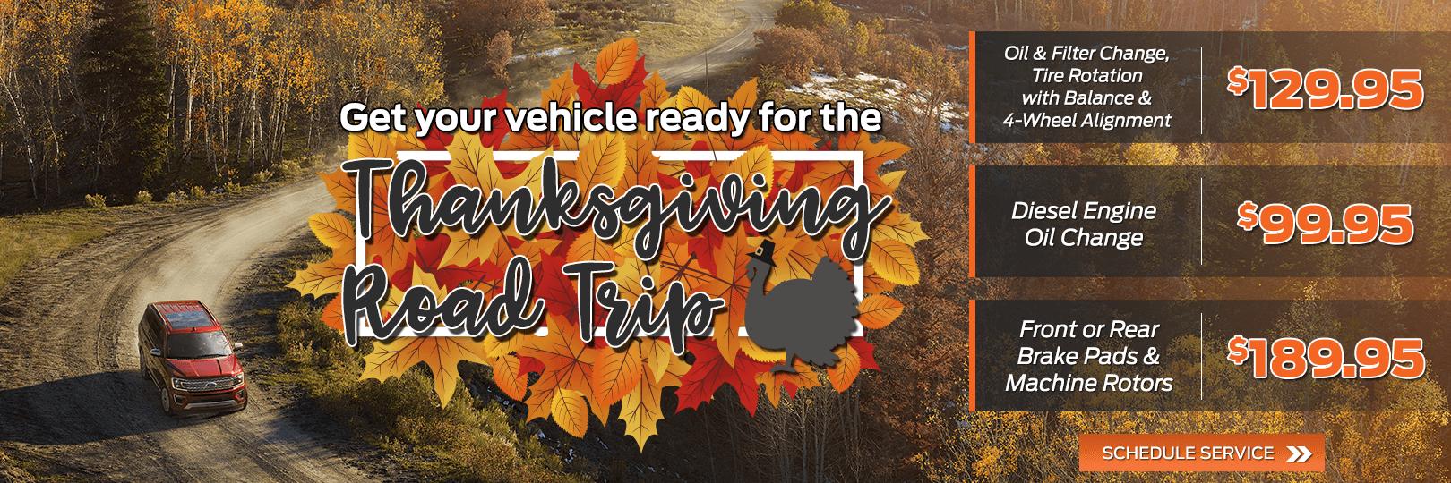 Thanksgiving Road Trip Service Specials