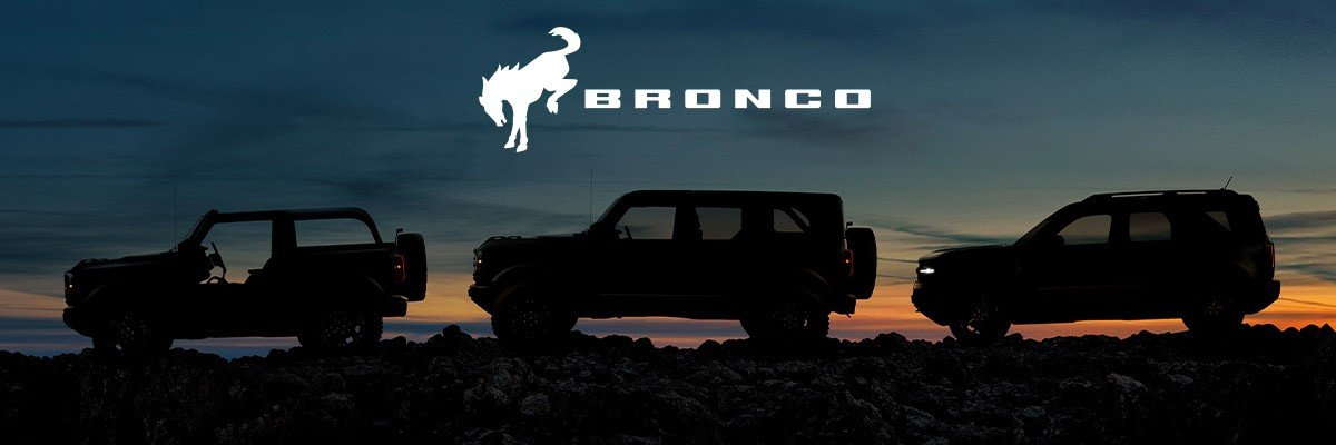 2021 Bronco lineup with sunset background