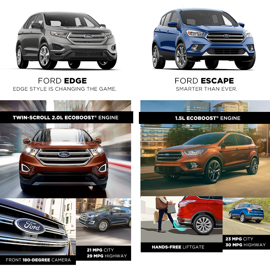 The  Ford Escape And The  Ford Edge Are Two Outstanding Models Each Offering Their Own Set Of Perks And Benefits While Theyre Designed Similarly
