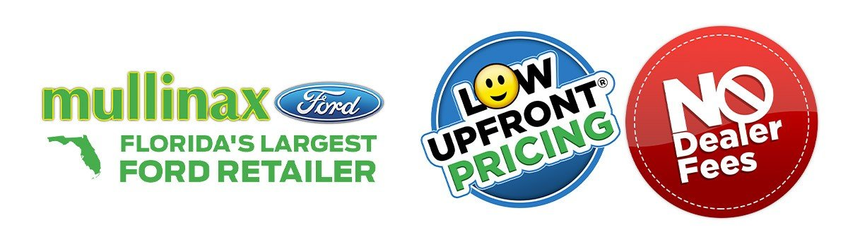 Mullinax Low Upfront Pricing and No dealer Fees logos