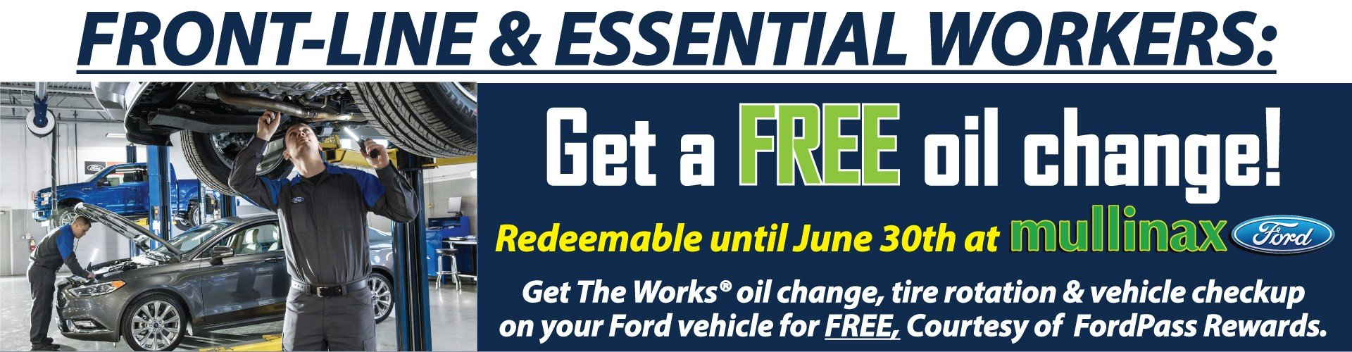 Free Oil Change Essential Workers at Mullinax Ford