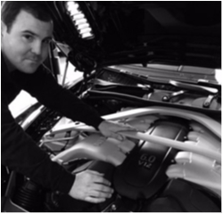 Aston Martin Technician John Olson in Service at Aston Martin Summit