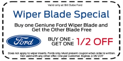 Coupon for Wiper Blade Special Buy One Genuine Ford Wiper Blade and Get the Other Blade 1/2 Off