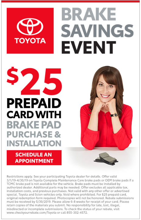 Coupon for Brake Savings Event $25 prepaid card with brake pad and purchase installation