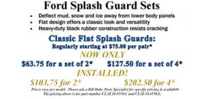Coupon for Ford Splash Guard Sets $63.75 for a set of 2, $127.50 for a set of 4