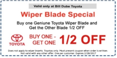 Coupon for Wiper Blade Special Buy One Genuine Toyota Wiper Blade and Get the Other Blade 1/2 Off