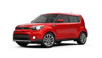 Red kia soul compact car