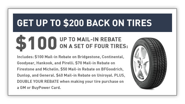 Get Up To $200 Back on Tires