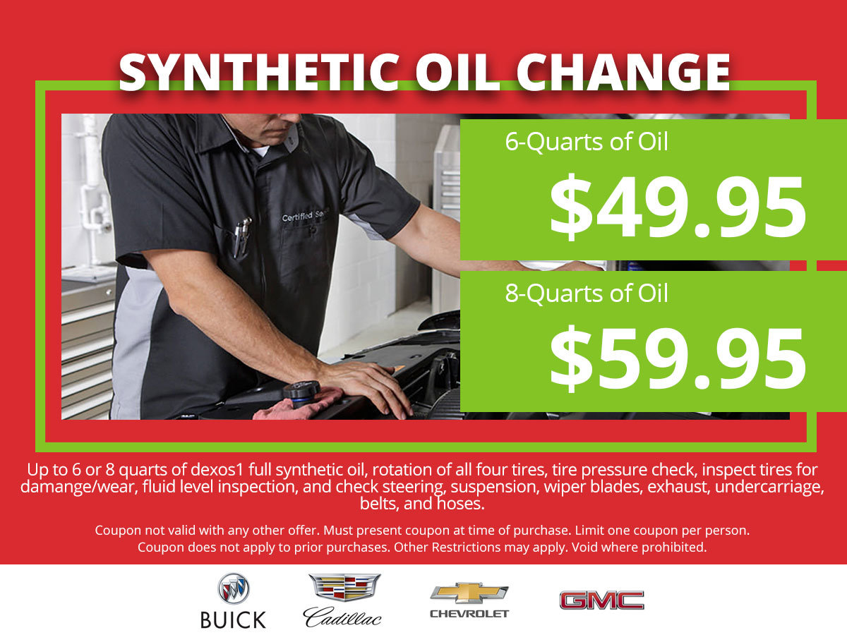 Coupon for Sythetic Oil Change $49.95 - 6qts & $59.95 - 8qts