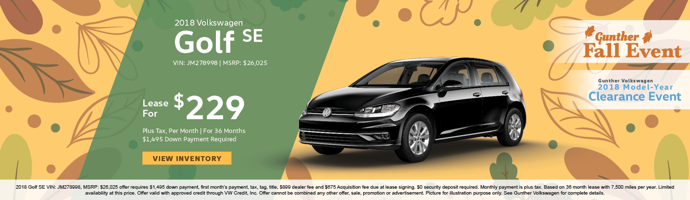 Lease the 2018 Volkswagen Golf SE for $229 per month, plus tax for 36 months.