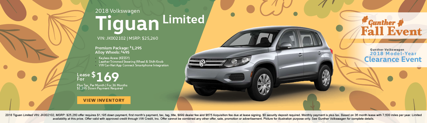 Lease the 2018 Volkswagen Tiguan Limited premium package for $159 per month, plus tax