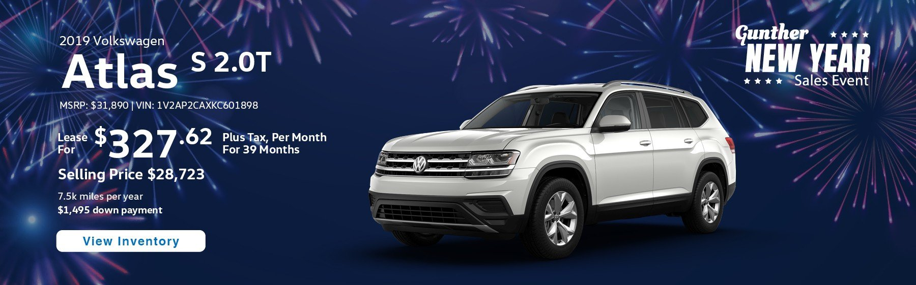 Lease the 2019 Atlas S 2.0T for $327.62 per month, plus tax for 39 months.