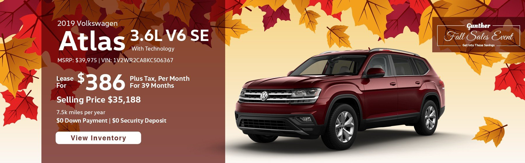 Lease the 2019 Atlas 3.6L V6 SE with Technology for $386 per month, plus tax for 39 months.
