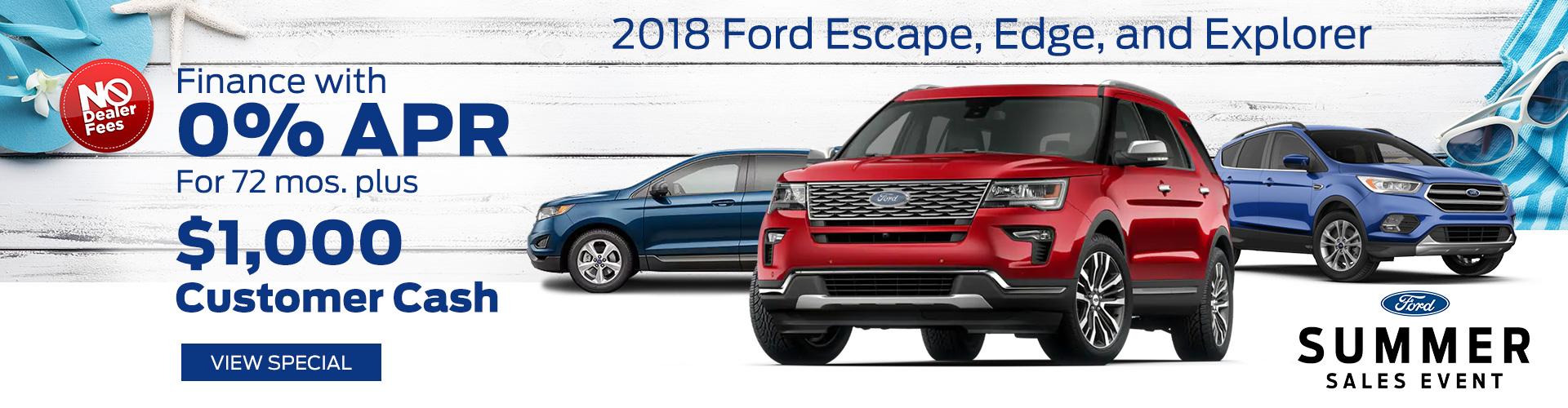 July 2018 Ford Escape, Edge, & Explorer Special