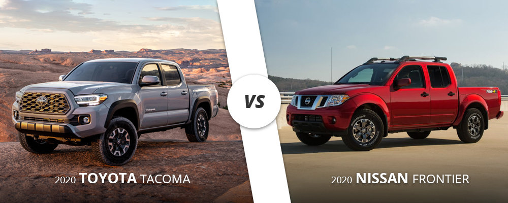 Silver 2020 Toyota Tacoma vs. red 2020 Nissan Frontier on Long Island.