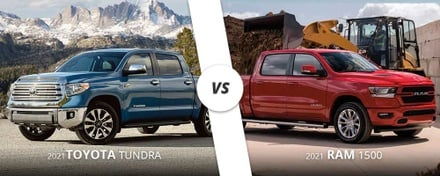Blue 2021 Toyota Tundra vs. red 2021 RAM 1500 here on Long Island, NY.