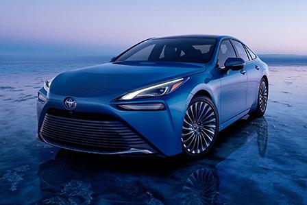 2021 Hydro Blue Toyota Mirai available at Westbury Toyota on Long Island.