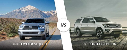 2021 Silver Toyota Sequoia vs. 2021 White Ford Expedition on Long Island, NY.