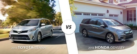 Comparing the 2018 Toyota Sienna to the 2018 Honda Odyssey
