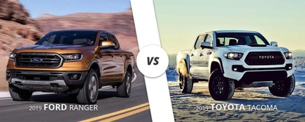 Comparing a white 2019 Toyota Tacoma to an orange 2019 Ford Ranger here on long Island, NY.