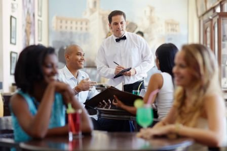 Local community members enjoying a meal at one of the fine restaurants here on Long Island, NY.