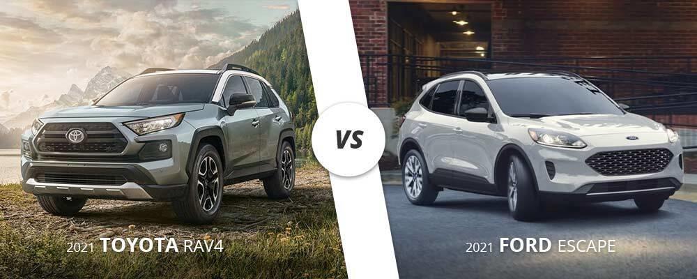 Silver 2021 Toyota RAV4 vs. white 2021 Ford Escape on Long Island, NY.