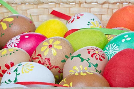 Easter eggs in a basket on Long Island, NY.