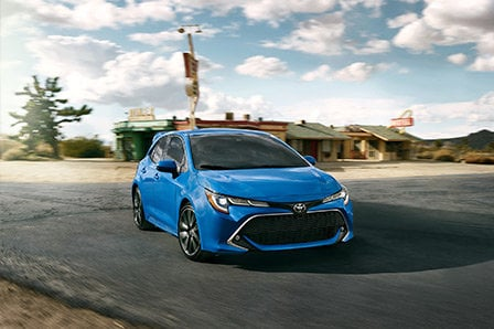 2019 blue Toyota Corolla Hatchback from Westbury Toyota on Long Island, NY.