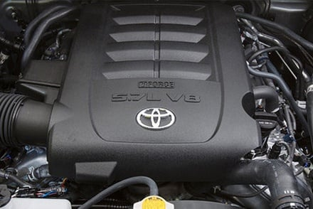 Toyota hood popped on Long Island, NY, in preparation for engine inspection and O2 sensor repair.