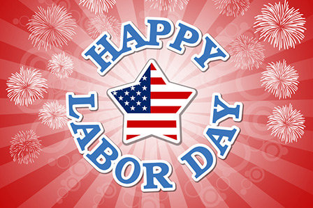 Happy Labor Day commemorative text on a red background to celebrate the holiday here on Long Island.