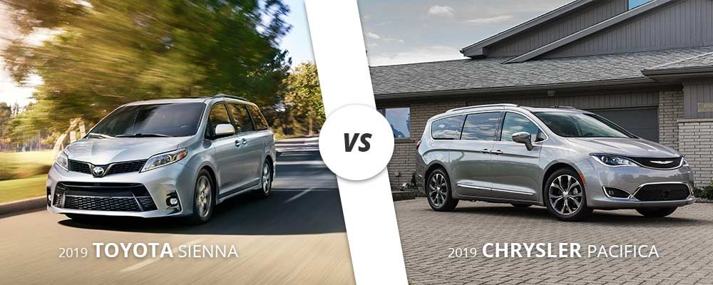 2019 Toyota Sienna compared to the 2019 Chrysler Pacifica.