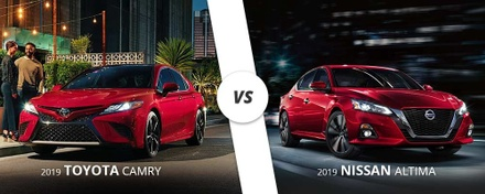 2019 red Toyota Camry compared to 2019 red Nissan Altima.