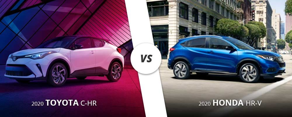 2020 white Toyota C-HR vs 2020 blue Honda HR-V on Long Island, NY.