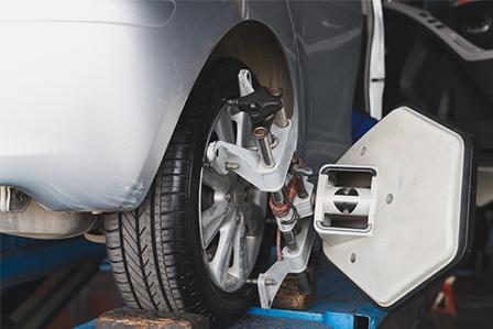 Toyota wheel alignment happening at Westbury Toyota here on Long Island, NY.