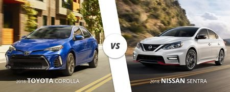 Comparing the 2018 Toyota Corolla to the 2018 Nissan Sentra.