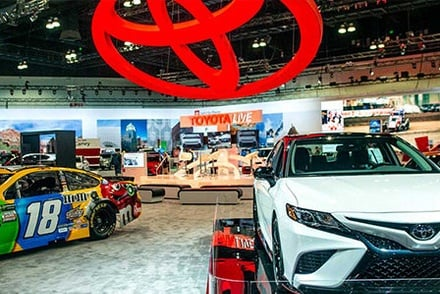 Toyota showcase area at the 2019 Los Angeles Auto Show.